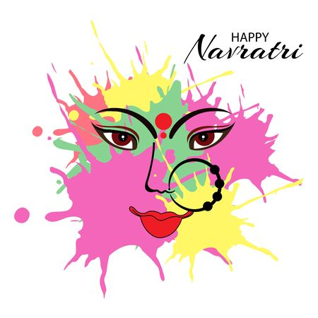 Vector illustration of a background Or poster for Happy Navratri. Stock Vector - 128855508