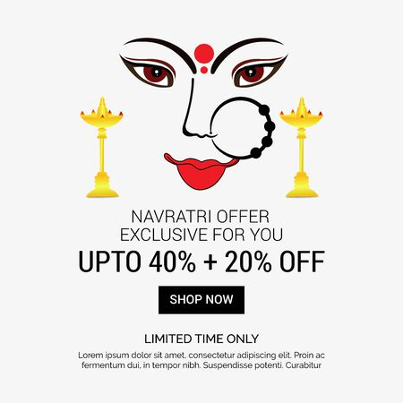 Vector illustration of a background Or poster for Happy Navratri. Stock Vector - 128855506