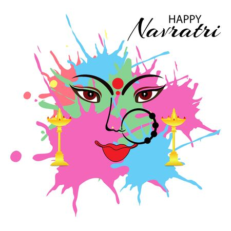 Vector illustration of a background Or poster for Happy Navratri. Stock Vector - 128855519
