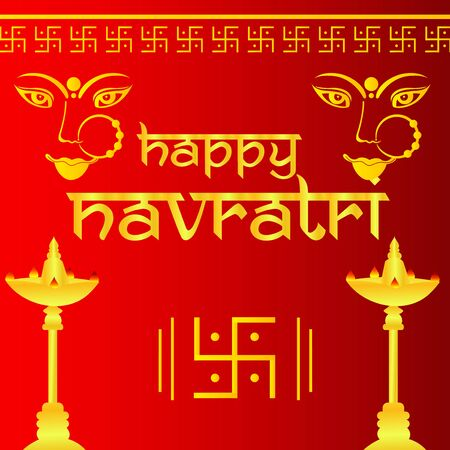 Vector illustration of a background Or poster for Happy Navratri. Stock Vector - 128855524