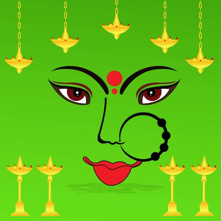 Vector illustration of a background Or poster for Happy Navratri. Stock Vector - 128855541