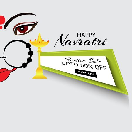 Vector illustration of a background Or poster for Happy Navratri. Stock Vector - 128855533