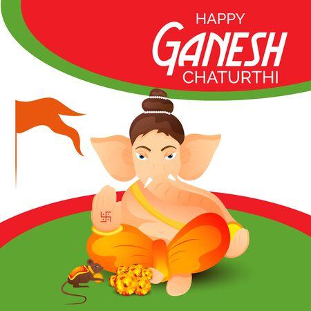Carta creativa e poster, sfondo di Lord Ganesh per il festival di Ganesh Chaturthi Celebration.