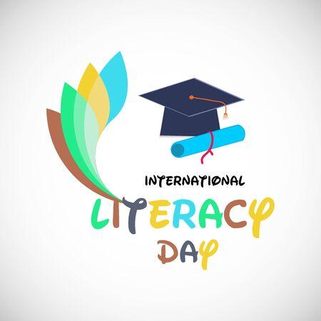 Illustration vectorielle d'un arrière-plan ou d'une affiche pour la Journée internationale de l'alphabétisation.