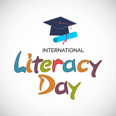 Illustrazione vettoriale di uno sfondo o un poster per la giornata internazionale dell'alfabetizzazione. Vettoriali
