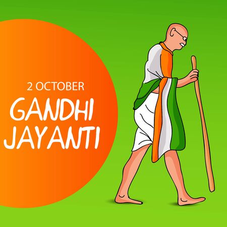 Vector illustration of a background or poster for Happy Gandhi Jayanti or 2nd october. Archivio Fotografico - 129449949