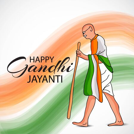 Vector illustration of a background or poster for Happy Gandhi Jayanti or 2nd october. Archivio Fotografico - 129450302