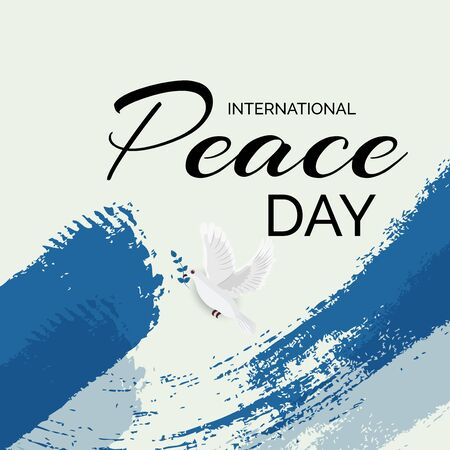Vector illustration of a Background for International Peace Day with dove and olive branch.