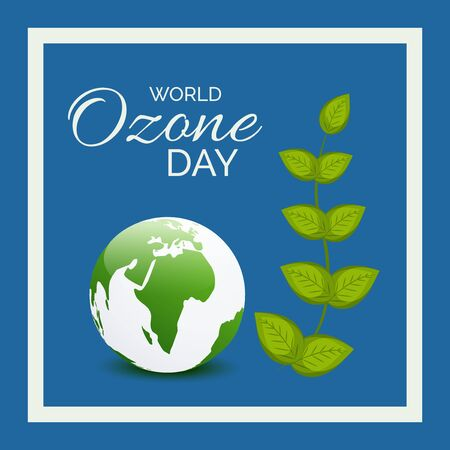 Vector illustration of a background For World Ozone Day. Иллюстрация