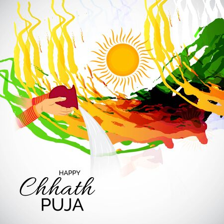 Vector illustration of a Background And Poster For Indian festival Happy Chhath Puja.