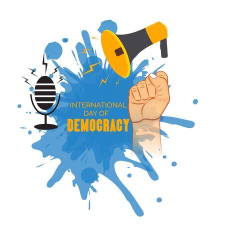 Ilustración vectorial de un fondo o cartel para el día internacional de la democracia el 15 de septiembre.