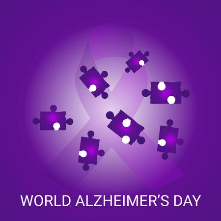 Vector illustration of a Background Or Poster for World Alzheimers Day with purple awareness ribbon on September 21. Illustration