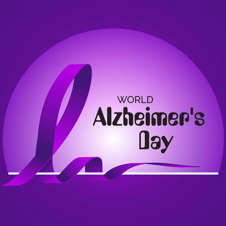 Vector illustration of a Background Or Poster for World Alzheimer's Day with purple awareness ribbon on September 21.