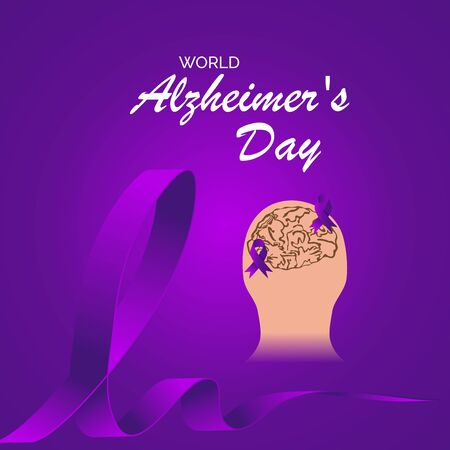 Vector illustration of a Background Or Poster for World Alzheimers Day with purple awareness ribbon on September 21. Illusztráció