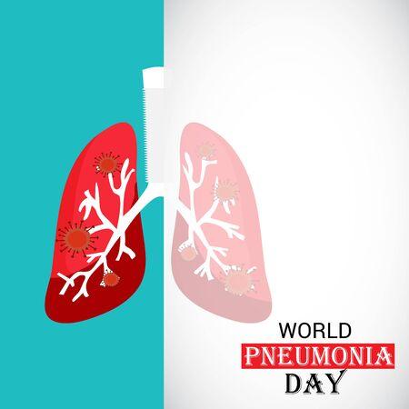 Ilustración de vector de un fondo o cartel para el día mundial de la neumonía. Ilustración de vector