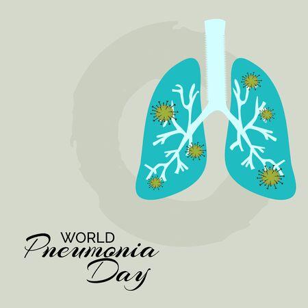 Illustration vectorielle d'un arrière-plan ou d'une affiche pour la Journée mondiale de la pneumonie.