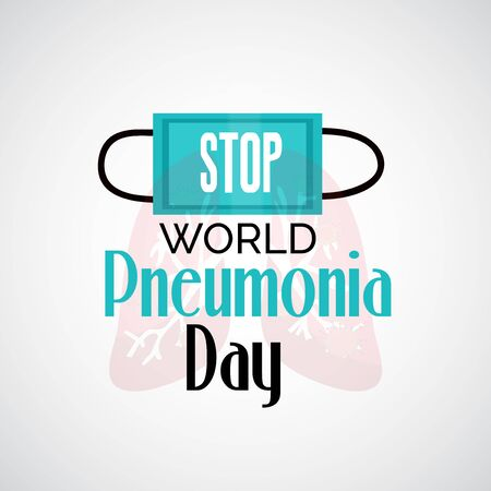 Vector illustration of a Background or Poster for World Pneumonia Day. Иллюстрация