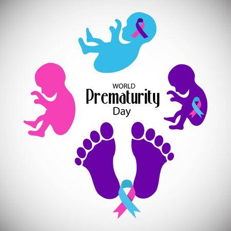 Illustration vectorielle d'un fond ou d'une affiche pour la Journée mondiale de la prématurité des soins de santé.
