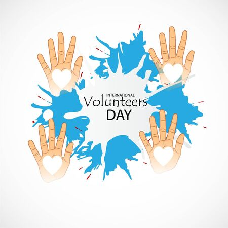 Vector illustration of a background for International Volunteers Day. 向量圖像