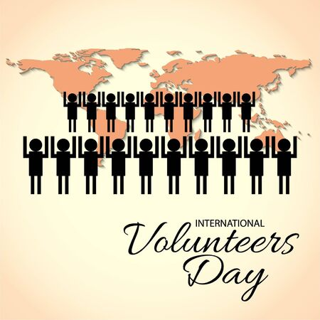 Vector illustration of a background for International Volunteers Day. 版權商用圖片 - 130757446
