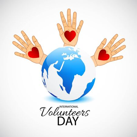 Vector illustration of a background for International Volunteers Day. 版權商用圖片 - 130757455