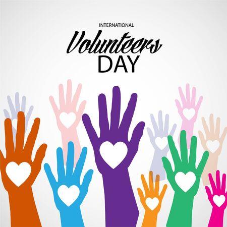 Ilustración vectorial de un fondo para el Día Internacional de los Voluntarios.