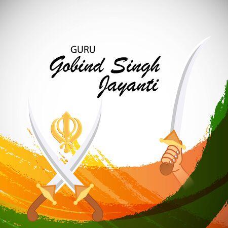 Vector illustration of a background or poster For celebration of Sikh Festival Happy Guru Gobind Singh Jayanti.
