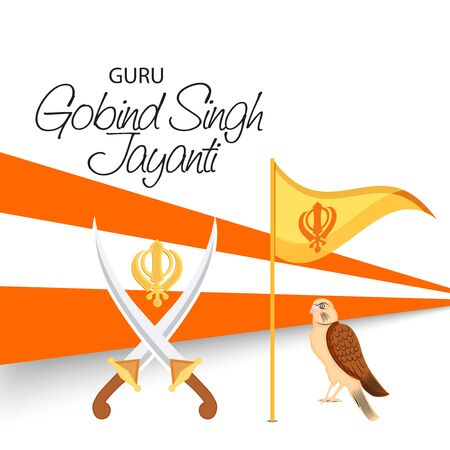 Vector illustration of a background or poster For celebration of Sikh Festival Happy Guru Gobind Singh Jayanti.