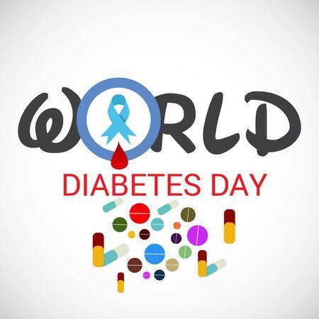 Vector illustration of a Background for World Diabetes Day Awareness. Banco de Imagens - 130750910