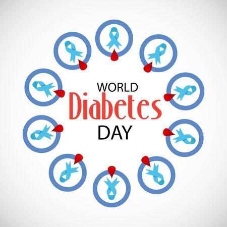 Vector illustration of a Background for World Diabetes Day Awareness. Banco de Imagens - 130750917