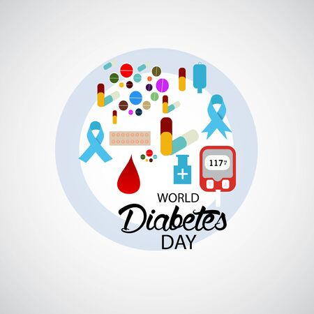 Vector illustration of a Background for World Diabetes Day Awareness. Banco de Imagens - 130750770