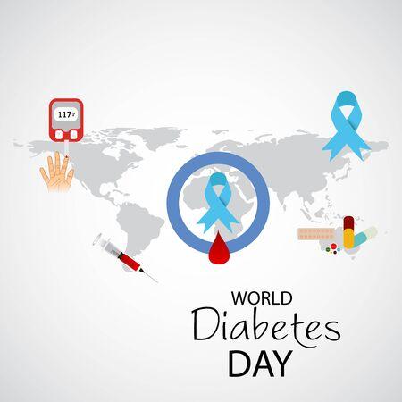 Vector illustration of a Background for World Diabetes Day Awareness. Banco de Imagens - 130750766