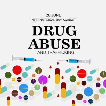 Vector illustration of a background for  Drug Abusing Concept Poster Template Design,International Day Against Drug Abuse. Illustration