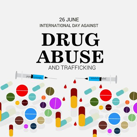 Vector illustration of a background for  Drug Abusing Concept Poster Template Design,International Day Against Drug Abuse. Иллюстрация