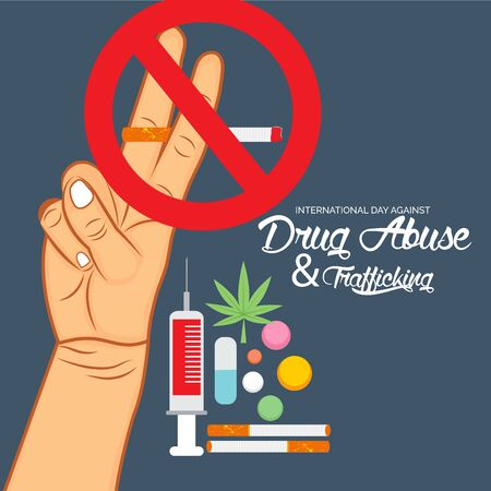 Vector illustration of a background for  Drug Abusing Concept Poster Template Design,International Day Against Drug Abuse. Reklamní fotografie - 130750534