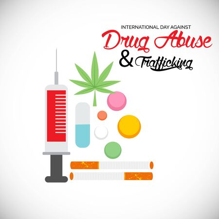 Vector illustration of a background for  Drug Abusing Concept Poster Template Design,International Day Against Drug Abuse. Reklamní fotografie - 130750549