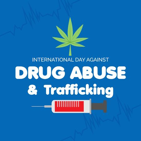 Vector illustration of a background for  Drug Abusing Concept Poster Template Design,International Day Against Drug Abuse. Reklamní fotografie - 130750493