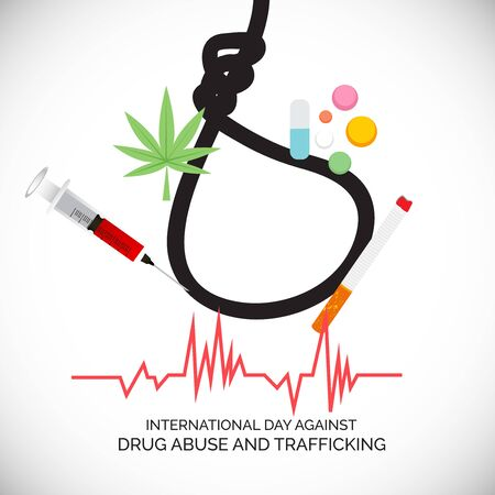 Vector illustration of a background for  Drug Abusing Concept Poster Template Design,International Day Against Drug Abuse. Reklamní fotografie - 130750498