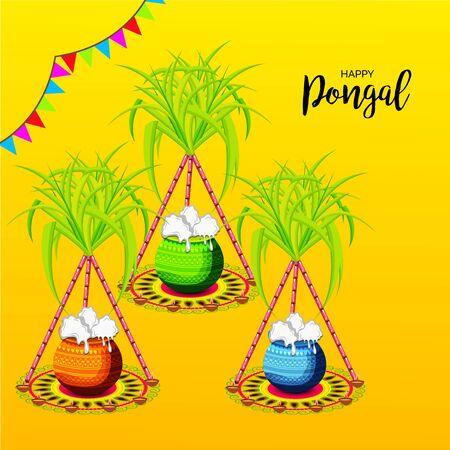 Ilustracja wektorowa tła lub plakatu Z kolorowymi doniczkami dla religijnych tradycyjnych dożynek Happy Pongal.