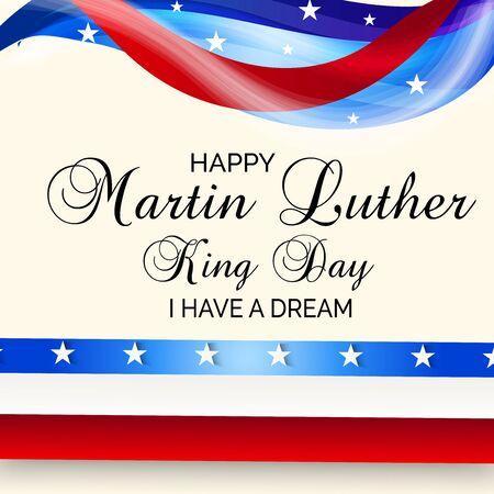 마틴 루터 킹의 날을 위한 미국 국기가 있는 배경 또는 포스터의 벡터 그림. 벡터 (일러스트)