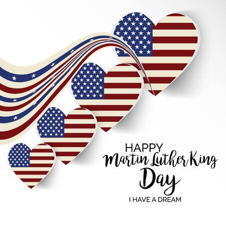 Ilustración vectorial de un fondo o un cartel con la bandera americana para el día de Martin Luther King.