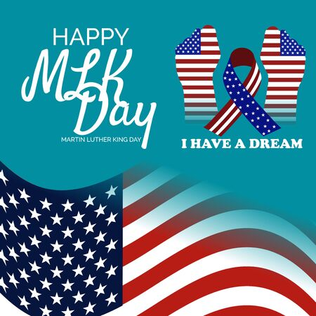 Vector illustration of a Background or poster with American Flag For Martin Luther King Day.