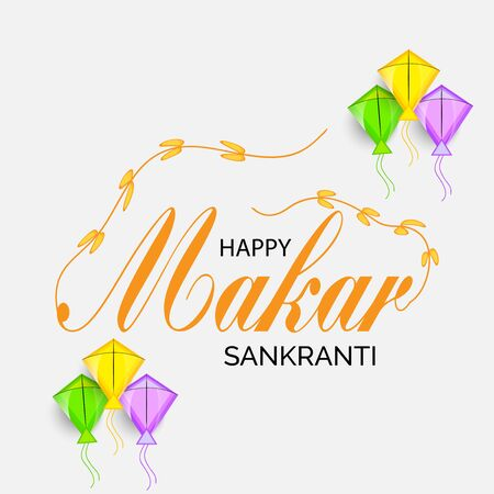 Vector illustration of a background and poster with colorful kites for Happy Makar Sankranti.