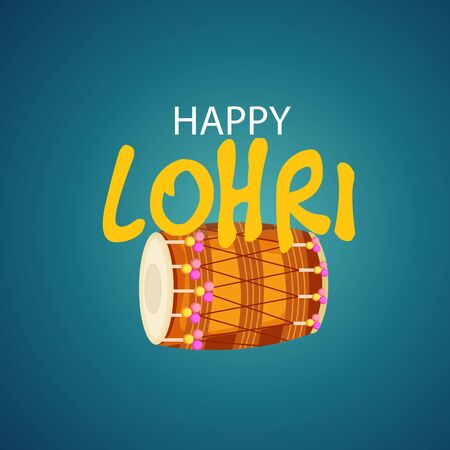 Vector illustration of a banner for Happy Lohri With Punjabi Message Lohri di lakh lakh vadhaiyan meaning Happy wishes for Happy Lohri.