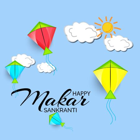 nd poster with colorful kites for Happy Makar Sankranti.