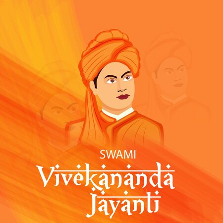 Vector illustration of a background or poster For Celebrate Swami Vivekananda Jayanti. 向量圖像
