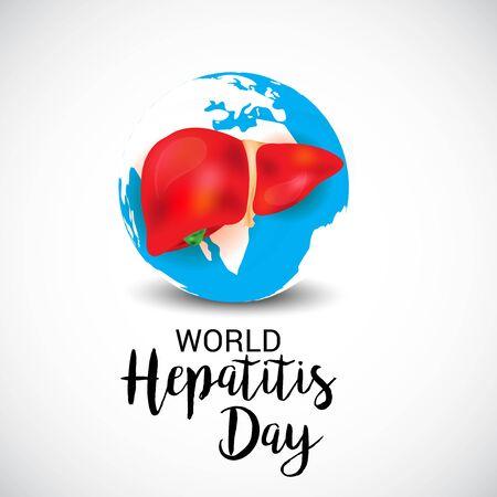Illustrazione vettoriale di uno sfondo per la giornata mondiale dell'epatite.