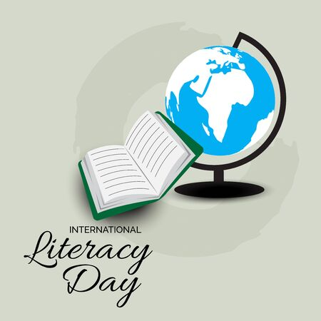 Vector illustration of a background or poster for International Literacy Day.