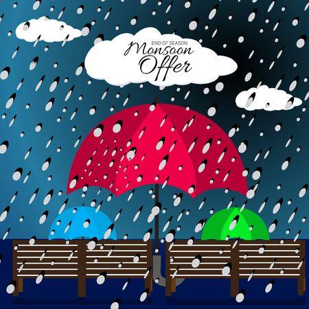Illustration vectorielle d'un arrière-plan pour la vente et l'offre de la mousson heureuse.