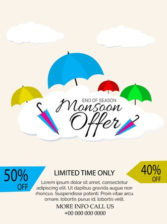 Vector Illustration of a background for Happy Monsoon Sale And Offer.